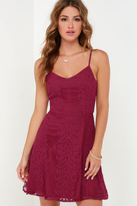 Glimmer of Glamour Wine Red Lace Dress at Lulus.com!