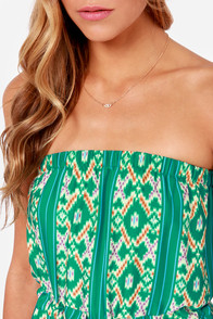 Collective Concepts Strapless is More Green Print Maxi Dress at Lulus.com!