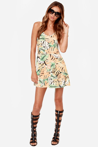 Obey Sixto Peach Tropical Print Dress at Lulus.com!