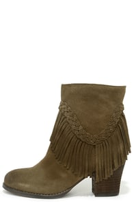 Sbicca Patience Khaki Suede Leather Fringe Booties at Lulus.com!