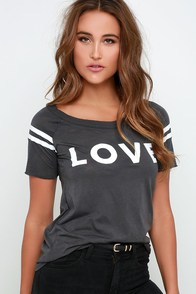 Chaser Love Dark Grey Cutout Tee at Lulus.com!