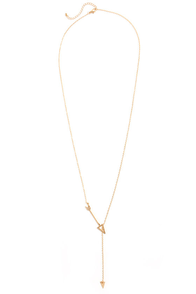 Shoot First Gold Arrow Necklace at Lulus.com!