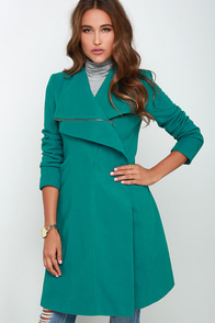 Fashion Finder Teal Coat at Lulus.com!