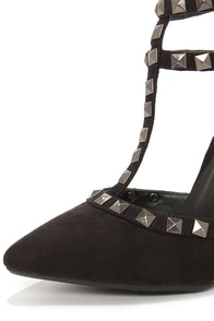Wild Diva Lounge Adora 64 Black Suede Studded Pointed Heels at Lulus.com!