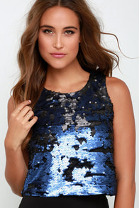 Leading Starlight Black and Purple Sequin Crop Top at Lulus.com!