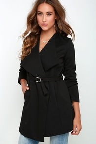 Hey Now Belted Black Jacket at Lulus.com!