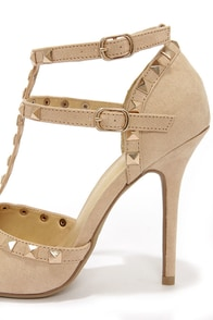 Wild Diva Lounge Adora 64 Natural Suede Studded Pointed Heels at Lulus.com!