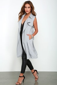 Sleeve It At That Grey Sleeveless Trench Coat at Lulus.com!