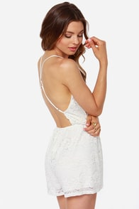 Where You Are Ivory Lace Romper at Lulus.com!