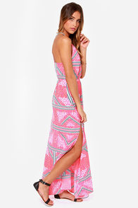 Mink Pink Eastern Aztec Pink Print Maxi Dress at Lulus.com!