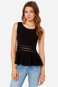 Encircle of Love Black Lace Peplum Top at Lulus.com!