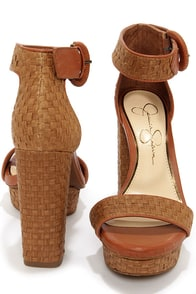 Jessica Simpson Kaelani Light Luggage Woven High Heel Sandals at Lulus.com!