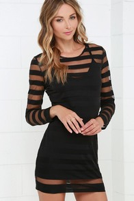RVCA Ashley Smith On the Rox Black Striped Long Sleeve Dress at Lulus.com!