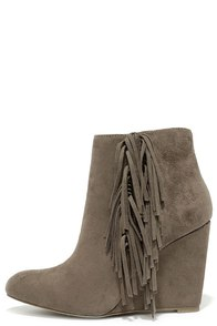 Madden Girl Pave Taupe Suede Fringe Wedge Booties