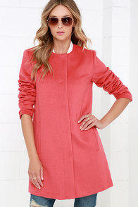 BB Dakota Catina Coral Red Coat at Lulus.com!