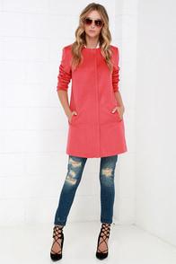 BB Dakota Catina Coral Red Coat at Lulus.com!