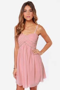 Beautiful Blush Pink Dress Strapless Dress Beaded Dress
