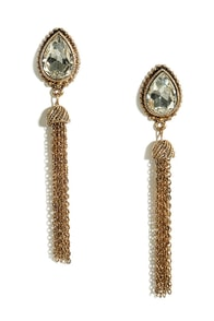 Tear and There Gold and Clear Rhinestone Tassel Earrings at Lulus.com!