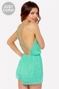 LULUS Exclusive Where You Are Turquoise Lace Romper at Lulus.com!