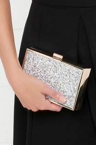 Delight the Way Gold Rhinestone Clutch at Lulus.com!