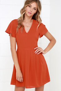 Social Center Rust Orange Dress at Lulus.com!