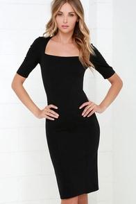 Elevated Black Bodycon Midi Dress at Lulus.com!