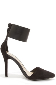 Ines 11 Black Suede Ankle Cuff Pointed Pumps at Lulus.com!