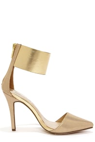 Ines 11 Gold Ankle Cuff Pointed Pumps at Lulus.com!