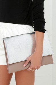 Metallic Moment Taupe and Silver Clutch at Lulus.com!