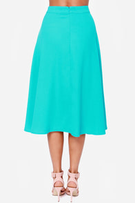 Play it Again Aqua Blue Midi Skirt at Lulus.com!