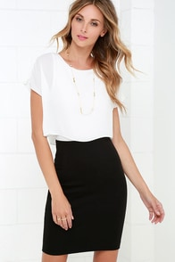 Half the Fun Black and White Midi Dress at Lulus.com!