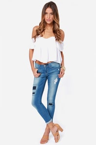 Flying Monkey Patch Work Distressed Cropped Skinny Jeans
