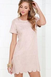 Well Suede Beige Suede Shift Dress at Lulus.com!