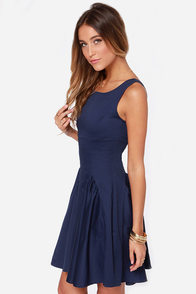 LULUS Exclusive Godet to You Navy Blue Dress at Lulus.com!