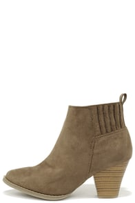 All the Better Taupe Suede Ankle Boots at Lulus.com!