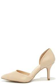 Beauty Call Natural D'Orsay Kitten Heels at Lulus.com!