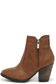 Straight Up Now Chestnut Brown High Heel Ankle Boots at Lulus.com!