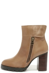 Sbicca Cello Taupe Leather High Heel Ankle Boots at Lulus.com!