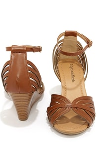 City Classified Ashley Dark Tan Strappy Peep Toe Wedge Sandals at Lulus.com!