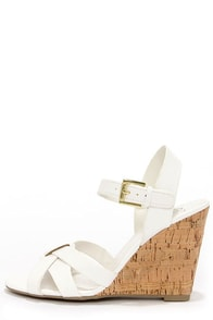 My Delicious Visola White Wedge Sandals