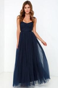 Garden Tulle Navy Blue Maxi Dress $98.00 AT vintagedancer.com