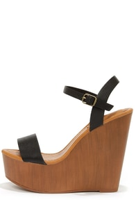 Emily 34 Black Platform Wedge Sandals at Lulus.com!