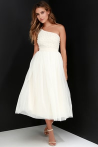 Glamour Girl Cream Beaded One Shoulder Dress at Lulus.com!