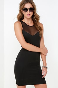 Mesh-ure Up Black Bodycon Dress at Lulus.com!