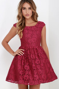Award of Excellence Wine Red Lace Skater Dress at Lulus.com!