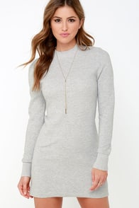 Mink Pink Ultimate Light Grey Long Sleeve Dress at Lulus.com!