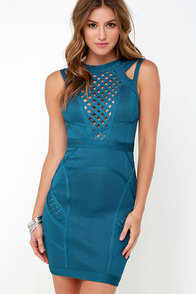 Hit Me Up Blue Bandage Dress at Lulus.com!