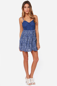 Others Follow Rita Blue Print Lace Dress at Lulus.com!