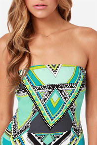 Draw a Crowd Blue Print Strapless Dress at Lulus.com!