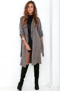 Black Swan Emma Dark Grey Trench Coat at Lulus.com!